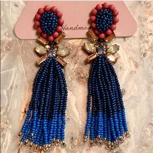 NWT Deepa Gurnani Crystal Beaded Fringe Earrings